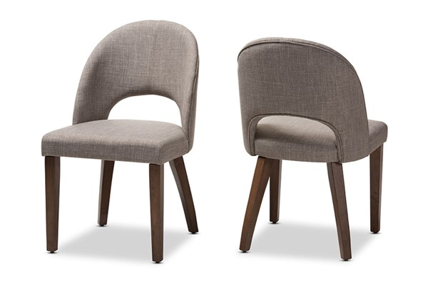 2 Baxton Studio Wesley Light Grey Fabric Upholstered Dining Chairs BAX-Wesley-Light-Grey-DC