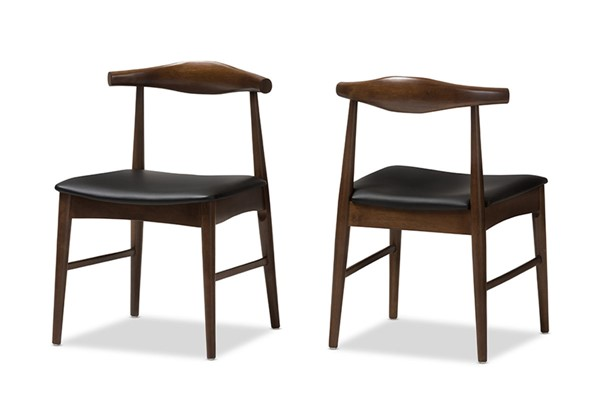 2 Baxton Studio Winton Black Faux Leather Dining Chairs BAX-RT514-CHR