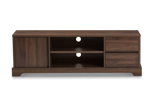 Baxton Studio Burnwood Modern Brown Wood TV Stand BAX-ET-4915-00-Brown-TV