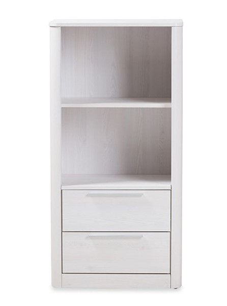 Baxton Studio Carlingfor Whitewash Wood 2 Drawers Bookcase BAX-BC-1260-05-Whitewash