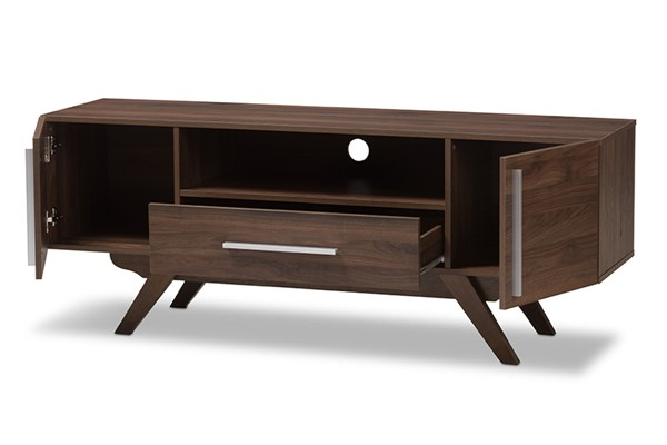 Baxton Studio Ashfield Walnut Brown Wood TV Stand BAX-ET-3515-00-Brown-TV