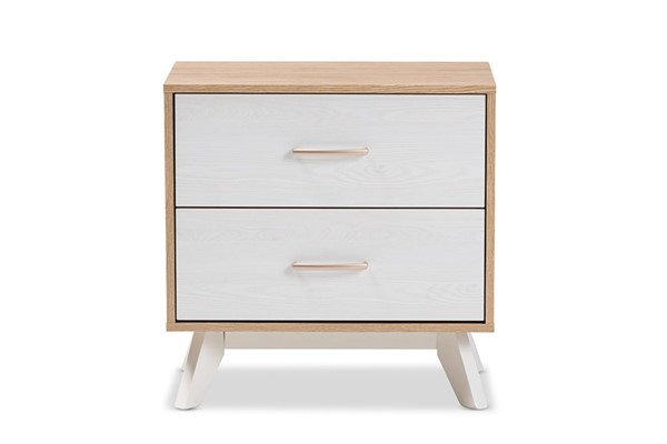 Baxton Studio Helena Natural Whitewash Wood 2 Drawers Night Stand BAX-ST-4560-02-NTL-WHWAS-NS