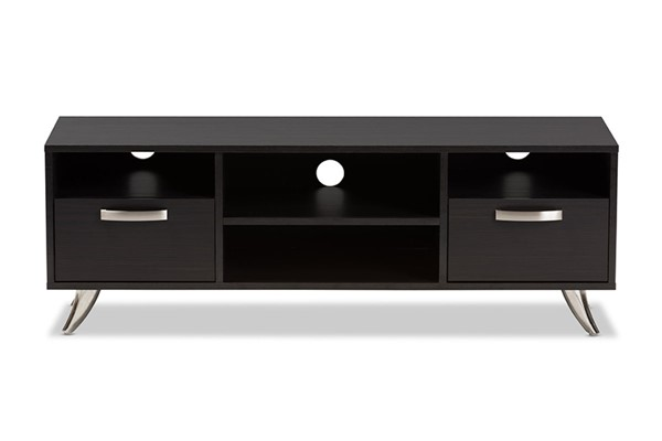 Baxton Studio Warwick Dark Brown Wood 2 Drawers TV Stand BAX-ET-3112-02-Dark-Brown-TV