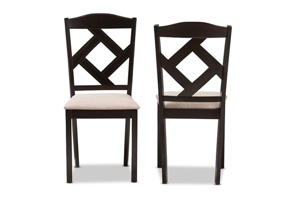 2 Baxton Studio Ruth Beige Fabric Upholstered Dining Chairs BAX-RH133C-Dark-Brown-Sand-DC