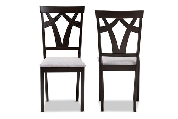 2 Baxton Studio Sylvia Grey Fabric Upholstered Dining Chairs BAX-RH146C-Dark-Brown-Grey-DC