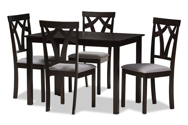 Baxton Studio Sylvia Grey Fabric Brown Wood 5pc Dining Set BAX-RH146C-DBR-GY-DINSET