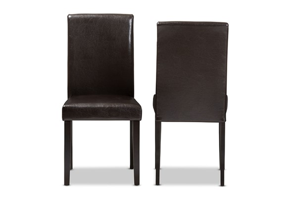 2 Baxton Studio Mia Dark Brown Faux Leather Upholstered Dining Chairs BAX-RH5992C-Dark-Brown-DC