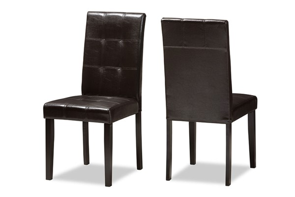 2 Baxton Studio Avery Dark Brown Faux Leather Upholstered Dining Chairs BAX-RH5991C-Dark-Brown-DC