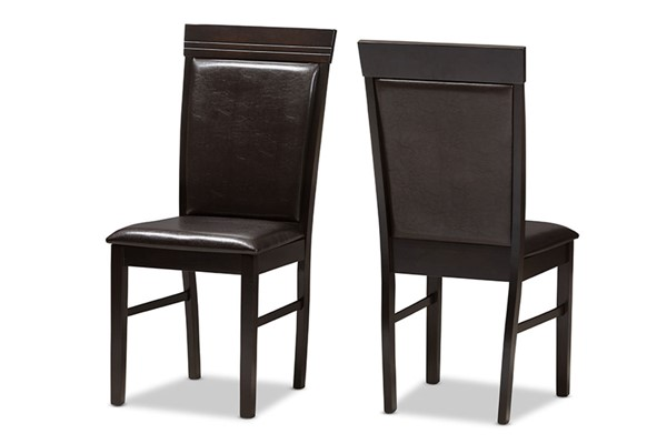 2 Baxton Studio Thea Dark Brown Faux Leather Upholstered Dining Chairs BAX-RH131C-Dark-Brown-DC