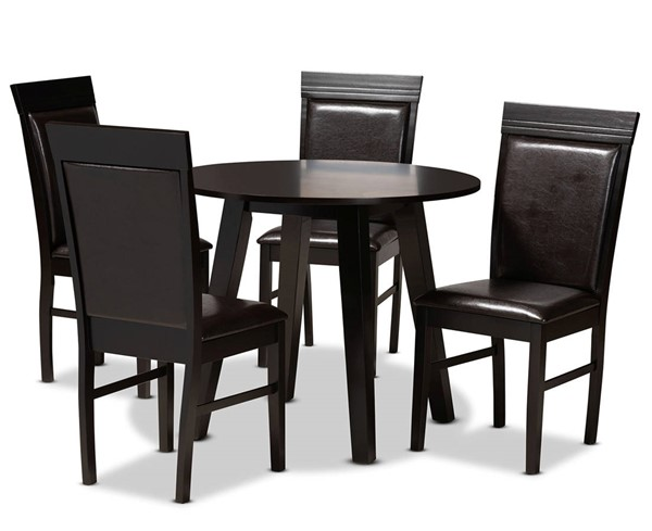 Baxton Studio Miya Dark Brown 5pc Dining Room Set BAX-Miya-Dark-Brown-5PC-Dining-Set