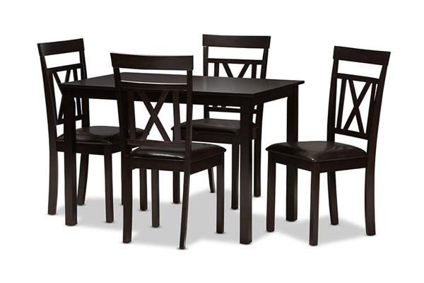 Baxton Studio Rosie Dark Brown Faux Leather Upholstered 5pc Dining Set BAX-RH123C-DBR-DINSET