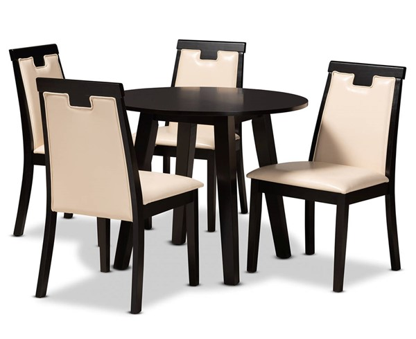 Baxton Studio Ryan Beige Dark Brown 5pc Dining Room Set BAX-Ryan-Dark-Brown-Beige-5PC-Dining-Set