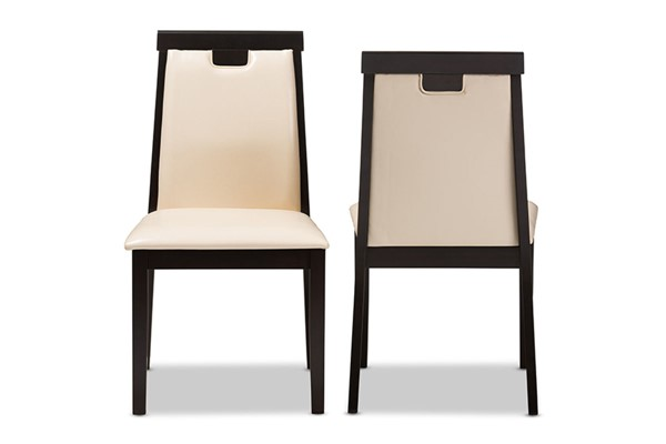 2 Baxton Studio Evelyn Beige Faux Leather Upholstered Dining Chairs BAX-RH5998C-Dark-Brown-Beige-DC