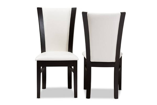 2 Baxton Studio Adley White Faux Leather Dining Chairs BAX-RH5510C-DBR-WH-DC