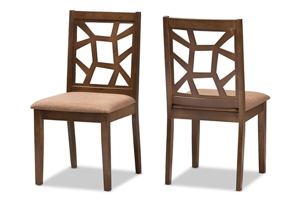 2 Abilene Light Brown Fabric Upholstered Dining Chairs BAX-RH3010C-Walnut-Light-Brown-DC