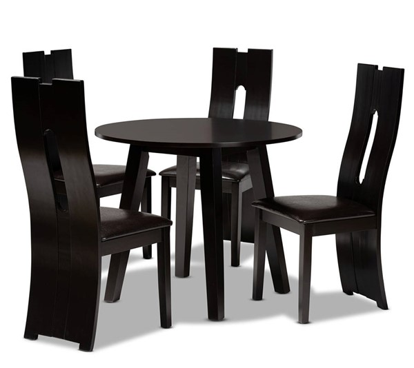 Baxton Studio Torin Dark Brown Espresso 5pc Dining Room Set BAX-Torin-Dark-Brown-5PC-Dining-Set