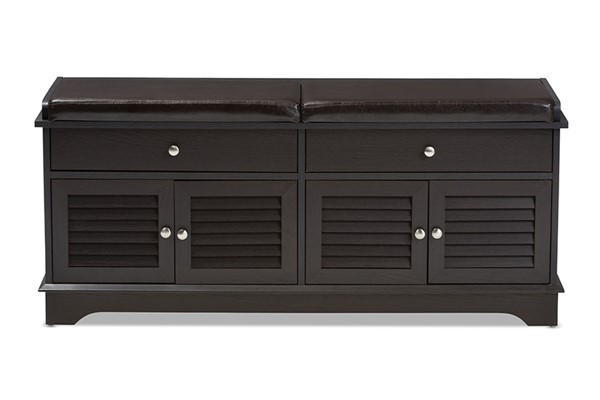 Baxton Studio Leo Dark Brown Wood 2 Drawers Shoe Storage Bench BAX-W-1705-5003-DBR-SHOEBNCH