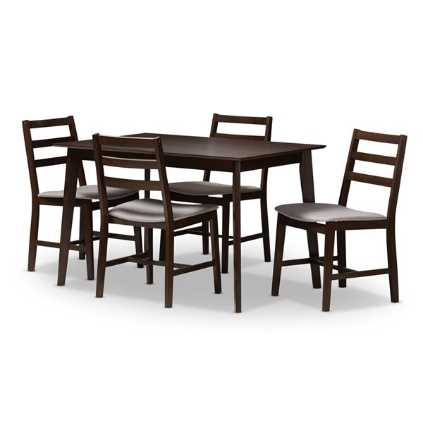 Baxton Studio Nadine Light Grey Fabric Walnut Brown Wood 5pc Dining Set BAX-52606-8048