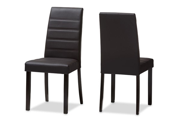 2 Baxton Studio Lorelle Dark Brown Faux Leather Upholstered Dining Chairs BAX-LW22-Brown-DC