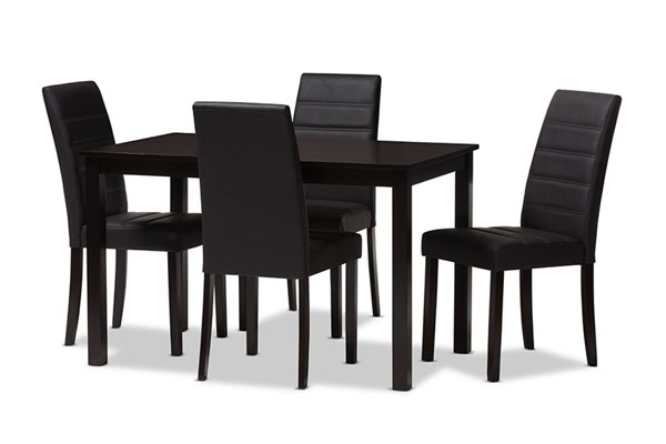Baxton Studio Lorelle Dark Brown Faux Leather Upholstered 5pc Dining Set BAX-LW22-LW12758R53-5PC-Dining-Set