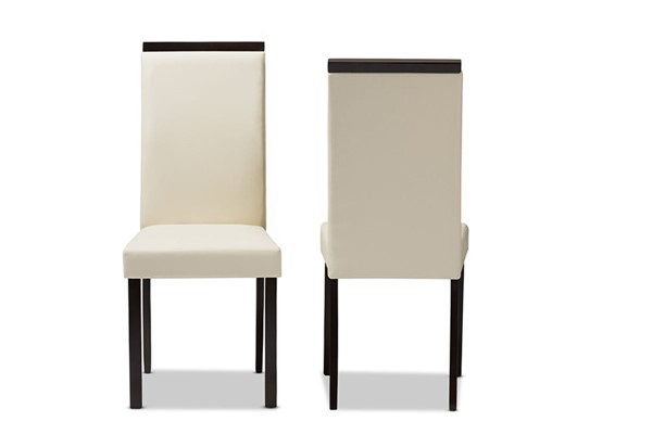 2 Baxton Studio Daveney Cream Faux Leather Upholstered Dining Chairs BAX-LW120-Cream-DC