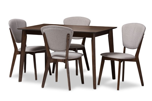 Baxton Studio Tarelle Light Grey Fabric Walnut Wood 5pc Dining Set BAX-52606-8068