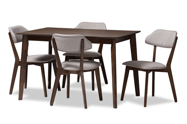Baxton Studio Matilda Light Grey Fabric Walnut Brown Wood 5pc Dining Set BAX-52606-8069
