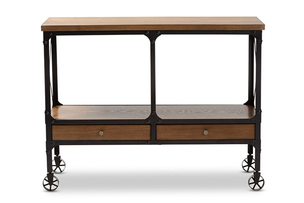 Baxton Studio Alves Dark Oak Brown Metal Wheeled Console Table BAX-YLX-2716