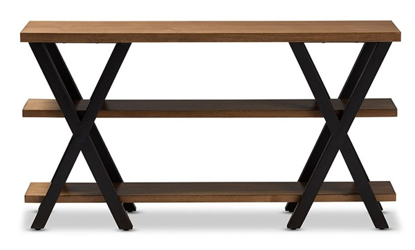 Baxton Studio Duchaine Oak Brown Wood Rectangle Console Table BAX-YLX-2715