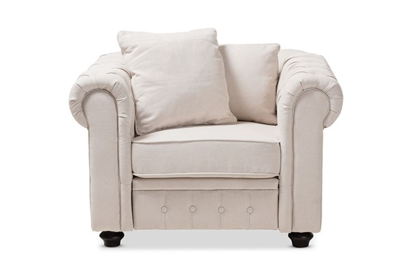 Baxton Studio Alaise Beige Fabric Tufted Back Chesterfield Chair BAX-RX1616-Beige-CC