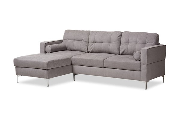 Baxton Studio Mireille Light Grey Fabric Upholstered Sectional Sofa BAX-R7860-Light-Gray-LFC