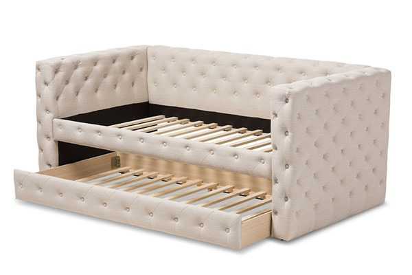 Baxton Studio Janie Light Beige Fabric Upholstered Daybed With Trundle BAX-CF8987-Light-Beige-Daybed