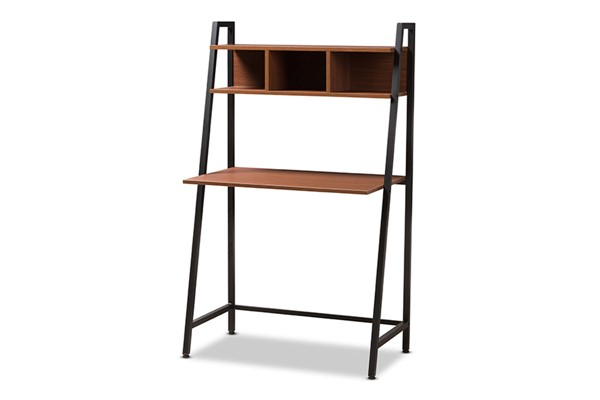 Baxton Studio Ethan Brown Wood Storage Desk BAX-WS12201-Coffee-Black