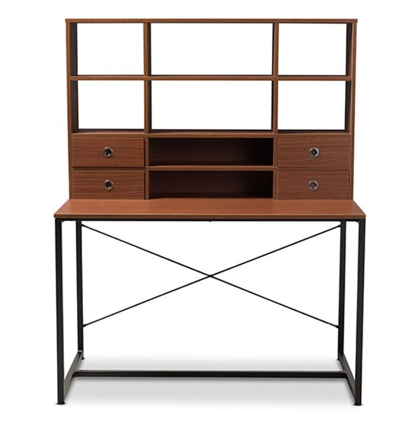 Baxton Studio Edwin Brown Wood 2 in 1 Bookcase Writing Desk BAX-WS12202-Coffee-Black