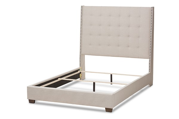 Baxton Studio Georgette Light Beige Fabric Upholstered King Bed BAX-CF8957-Light-Beige-King