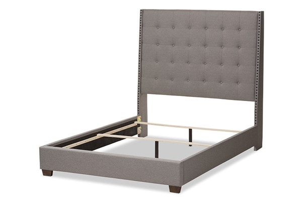 Baxton Studio Georgette Light Grey Fabric Upholstered Queen Bed BAX-CF8957-Light-Grey-Queen