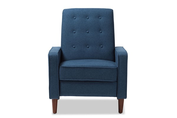 Baxton Studio Mathias Blue Fabric Upholstered Lounge Chair BAX-1705-Blue