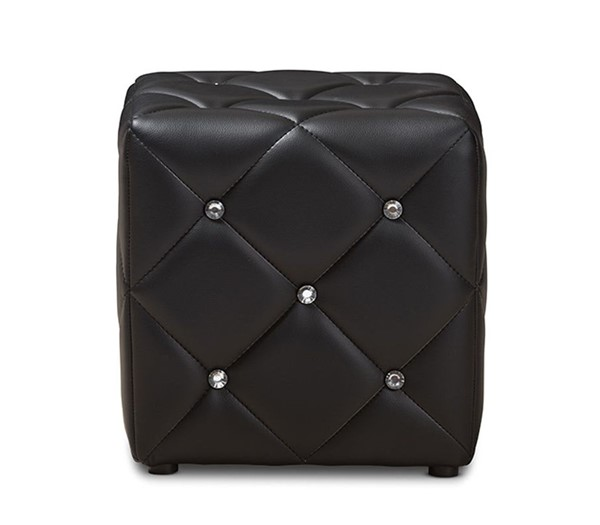 Baxton Studio Stacey Black Faux Leather Upholstered Tufted Ottoman BAX-1710-Black