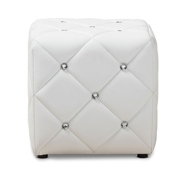 Baxton Studio Stacey White Faux Leather Upholstered Tufted Ottoman BAX-1710-White