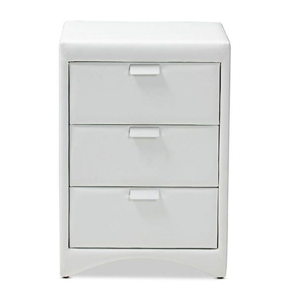 Baxton Studio Talia White Faux Leather Upholstered 3 Drawers Night Stand BAX-BBT3153-White-NS