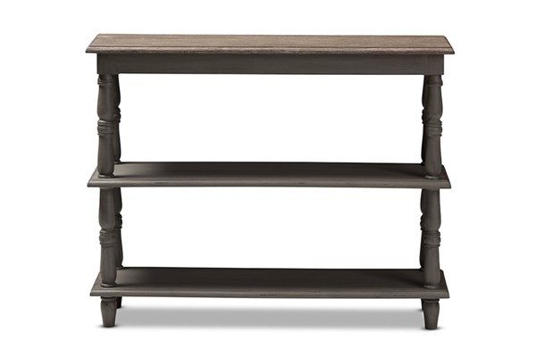 Baxton Studio Nellie Brown Wood 2 Shelves Console Table BAX-ENF95-Brown-ST