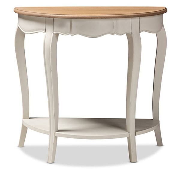 Baxton Studio Cordelia White Wood Half Oval Console Table BAX-MNT15-White-Natural-ST