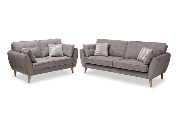 Baxton Studio Miranda Fabric Upholstered 2pc Living Room Sets BAX-R2006-2PC-Set-VAR