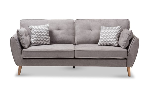 Baxton Studio Miranda Light Grey Fabric Upholstered Sofa BAX-R2006-Grey-SF