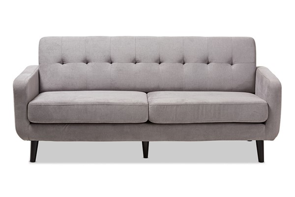 Baxton Studio Carina Light Grey Fabric Upholstered Sofa BAX-R2017-Grey-SF