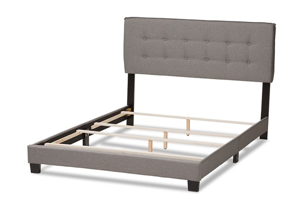 Baxton Studio Audrey Light Grey Fabric Upholstered King Bed BAX-CF8747-M-Light-Grey-King