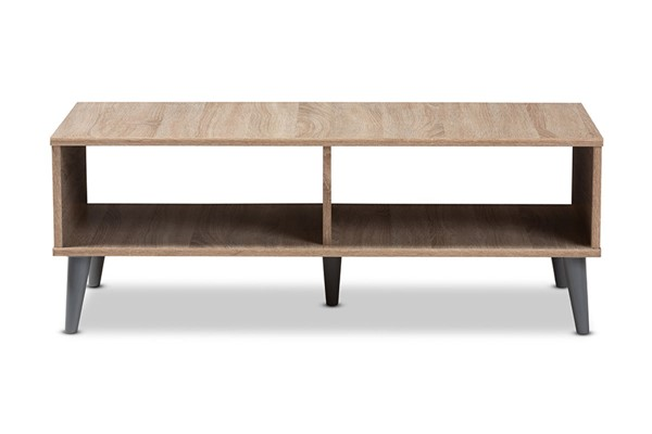 Baxton Studio Pierre Oak Brown Wood Rectangle Coffee Table BAX-SECFT3001HANA-OAKLGY-CT