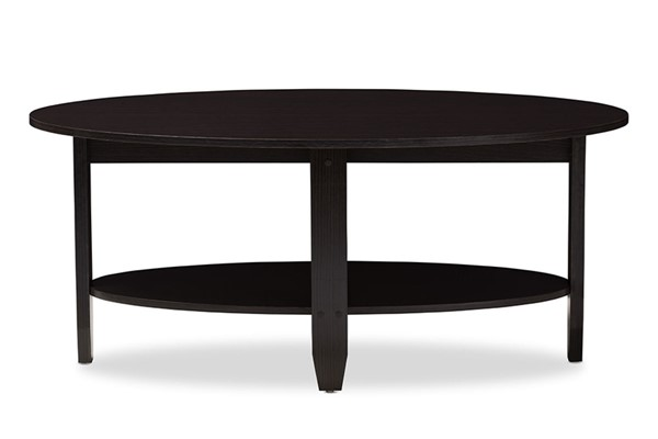 Baxton Studio Ancelina Wenge Dark Brown Oval Coffee Table BAX-MH2112-Wenge-CT