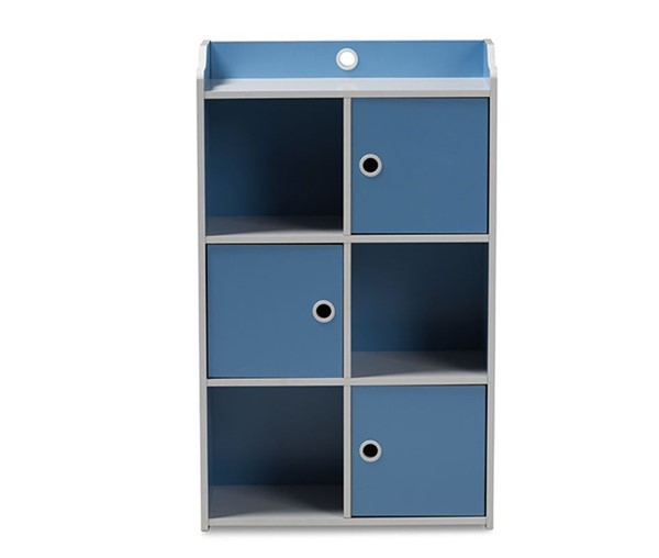 Baxton Studio Aeluin Blue White 3 Doors Bookcase BAX-BC6-Blue-White-Bookcase