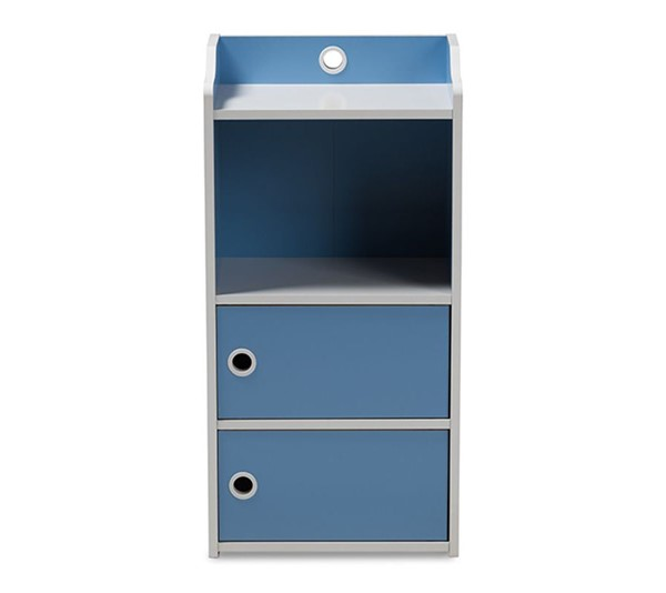 Baxton Studio Aeluin Blue White 2 Doors Bookcase BAX-BC13-Blue-White-Bookcase